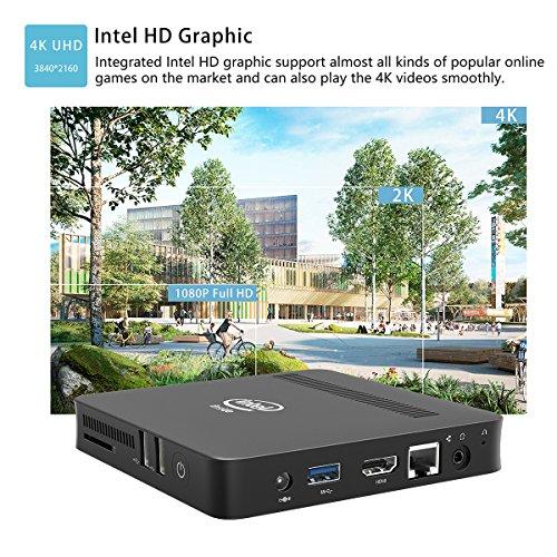 Z83-W Fanless Mini PC Desktop, Windows 10 64-bit Intel x5-Z8350 (Up To 1.92 GHz) HD Graphics, DDR3L 2GB/ 32GB eMMC/ 4K/ 1000M LAN/ 2.4/5.8GHz WiFi/ BT 4.0 [Dual Output - VGA/HDMI] by Plater (Image #4)