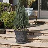 Great Deal Furniture Fern Outdoor Antique Black Finish Light Weight Concrete Urn