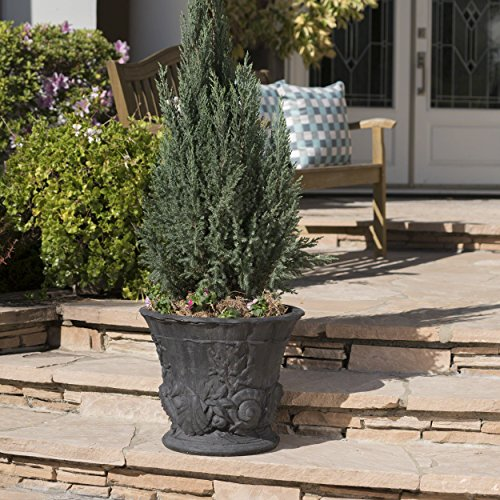 Cheap  Great Deal Furniture Fern Outdoor Antique Black Finish Light Weight Concrete Urn