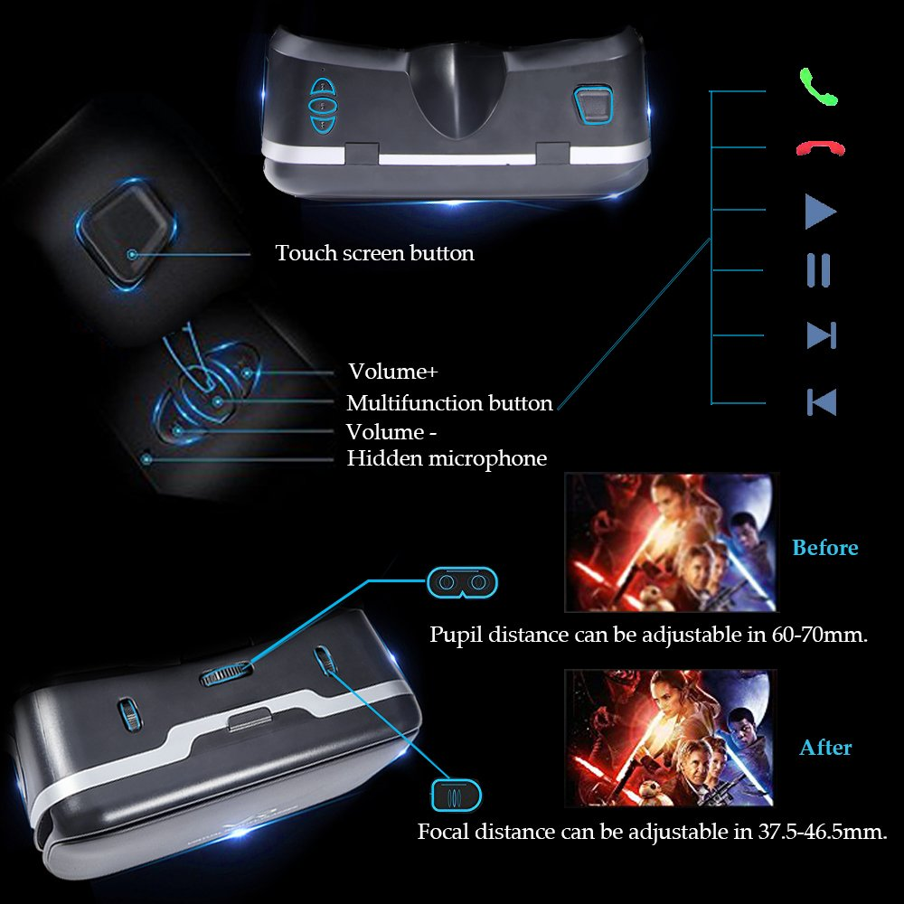 3D VR Glasses VR Virtual Reality with Bluetooth Remote Controller for 3D Games Movies& Lightweight with &Adjustable Pupil and Object Distance for Apple iPhone More Smartphones by EKIR (Image #4)