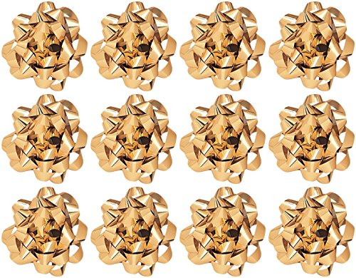 - The Gift Wrap Company 4832-09 Decorative Metallic Confetti Bows, Large, Gold