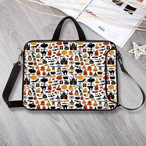 Halloween Portable Neoprene Laptop Bag,Halloween Icons Collection Candies Owls Castles Ghosts October 31 Theme Decorative Laptop Bag for Travel Office School,15.4