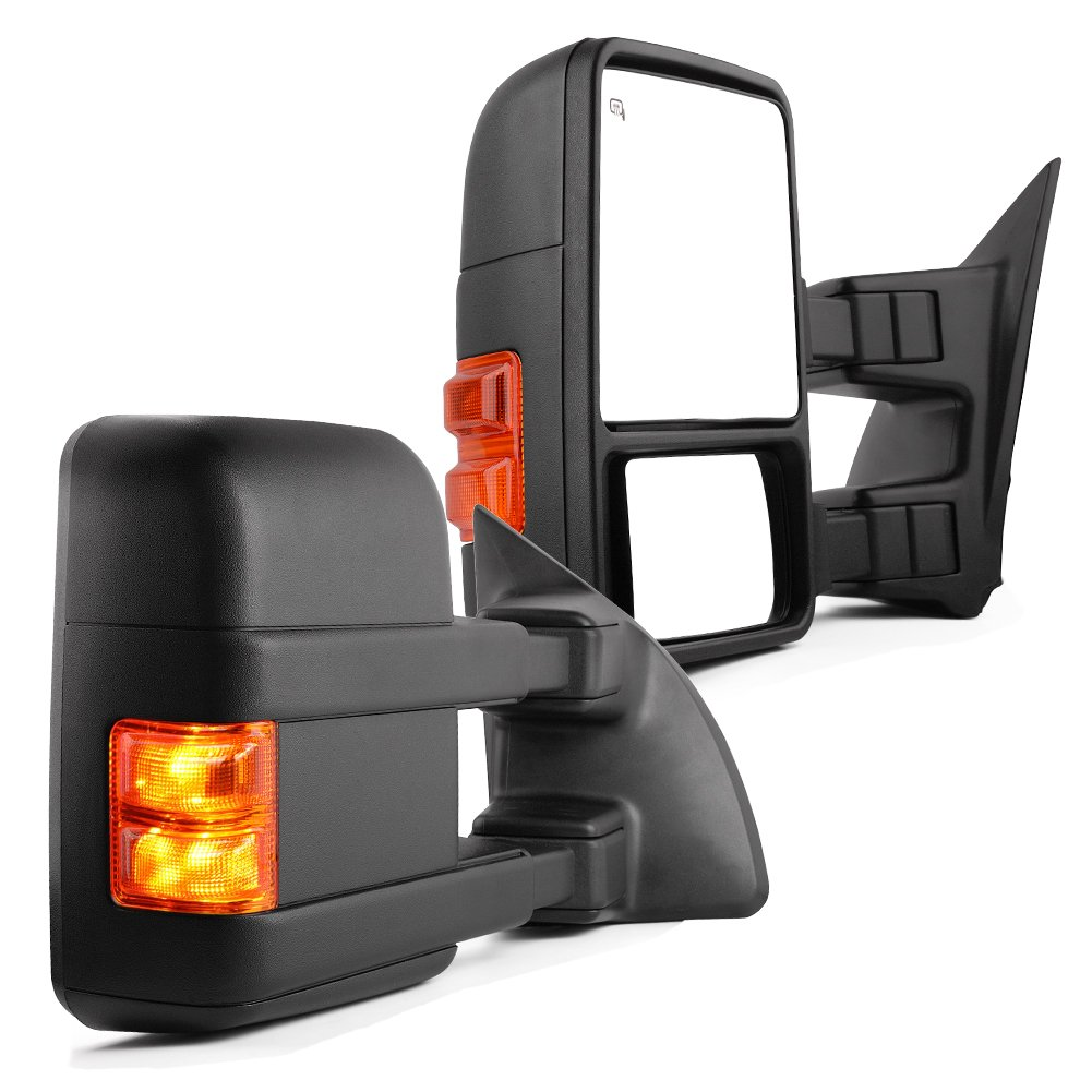 YITAMOTOR Towing Mirrors Compatible for Ford 1999-2007 Ford F250 F350 F450 F550 Super Duty Tow Mirrors Power Heated with Turn Signal Light Side Mirrors 1999 2000 2001 2002 2003 2004 2005 2006 2007