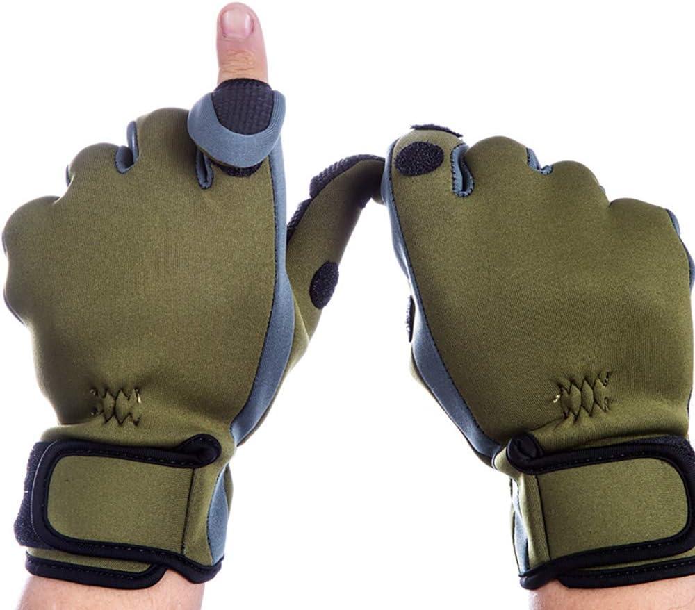 Dee Plus Angelhandschuhe Verstellbarer Bundabschluss mit Schwei/ßb/änder Fishing Gloves leicht Anglerhandschuhe Neopren Angel Handschuhe wasserfest