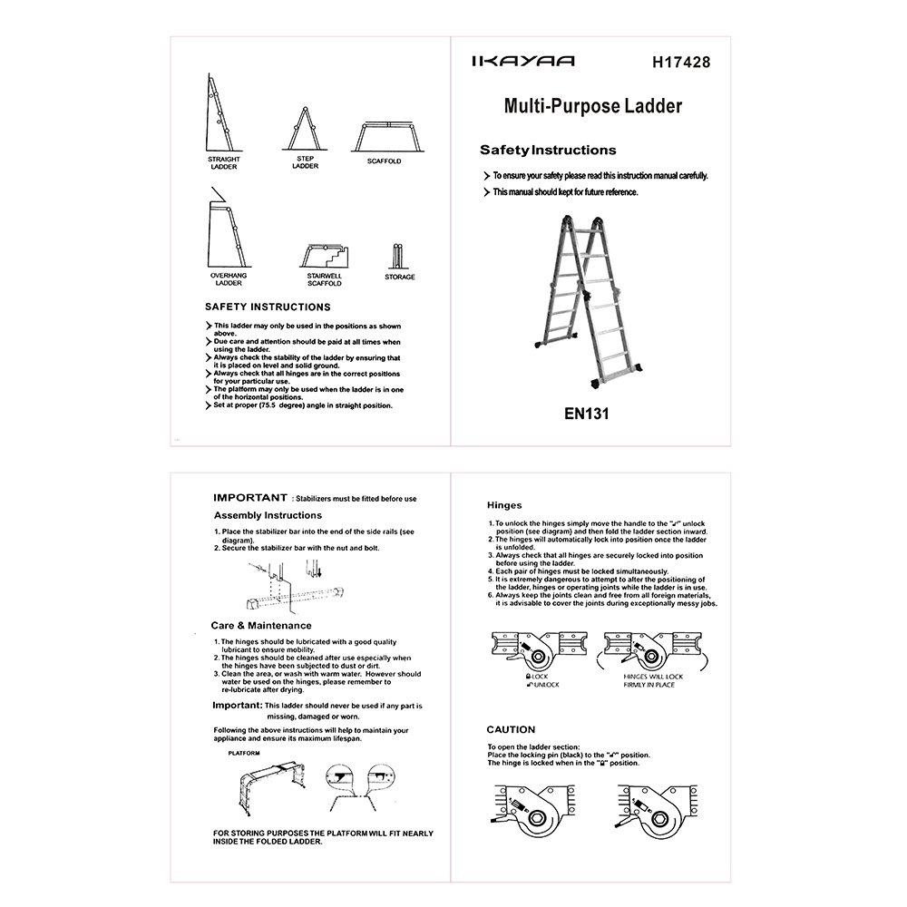 iKayaa /Échelle Multifonction en Aluminium Pliante
