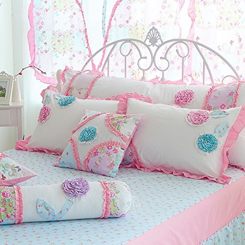 Norson Summer Child Bedding New Arrival,girls Romance Pastoral 3d Flower Pink Blue,princess Falbala Bed Skirt 6pcs (Pink, 5 feet)