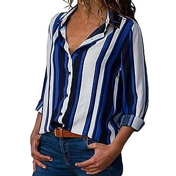 Modaworld Blusa Mujer Chiffon Camisa De Manga Larga Elegante Colorido a Rayas Cuello V