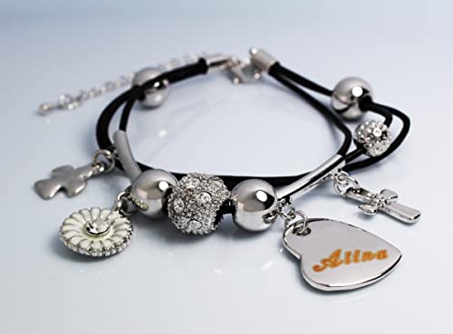 107972b018950 Multi Charm Name Bracelet ALINA - Personalised Ladies Genuine ...