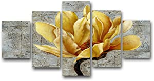 """Large Yellow and Grey Gray Flower Wall Art Abstract Print on Canvas Home Decor Decal Pictures 5 Panels Poster for Bedroom Living Room Printed Painting Gifts Framed Ready to Hang (60""""Wx32""""H, Artwork-A)"""