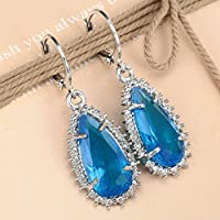 Siam panva Women Fashion 925 Silver Aquamarine Dangle Drop Huggie Earrings Wedding Jewelry