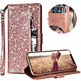 """Luxury Glitter Bling Zipper Wallet Phone Case for iPhone X/iPhone XS 5.8"""", MOIKY Bookstyle PU Leather Flip Folio Magnetic Purse Pockets Credit Card Holder Wrist Strap Case Cover for iPhone X/iPhone XS 5.8"""" - Rose Gold"""