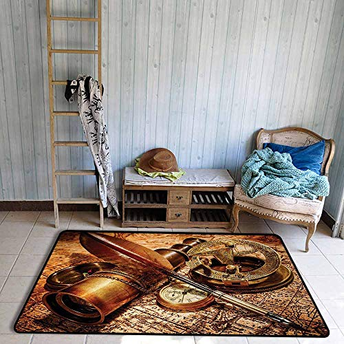 (Bath Rug 3D Digital Printing pad Antique Compass Goose Quill Pen Spyglass and a Pocket Watch Lying on an Old Map Print Hard and wear Resistant W59 xL71 Orange Brown)
