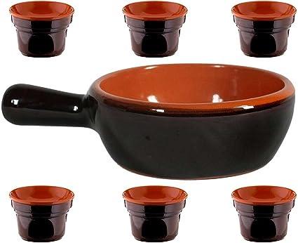 Set de baño Cauda cacerola 21 cm cerámica + 6 hornillos ...