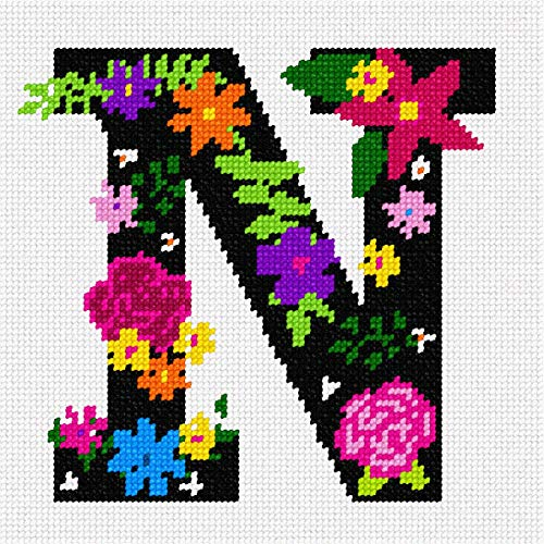 Print Needlepoint - pepita Letter N Primary Floral Needlepoint Canvas