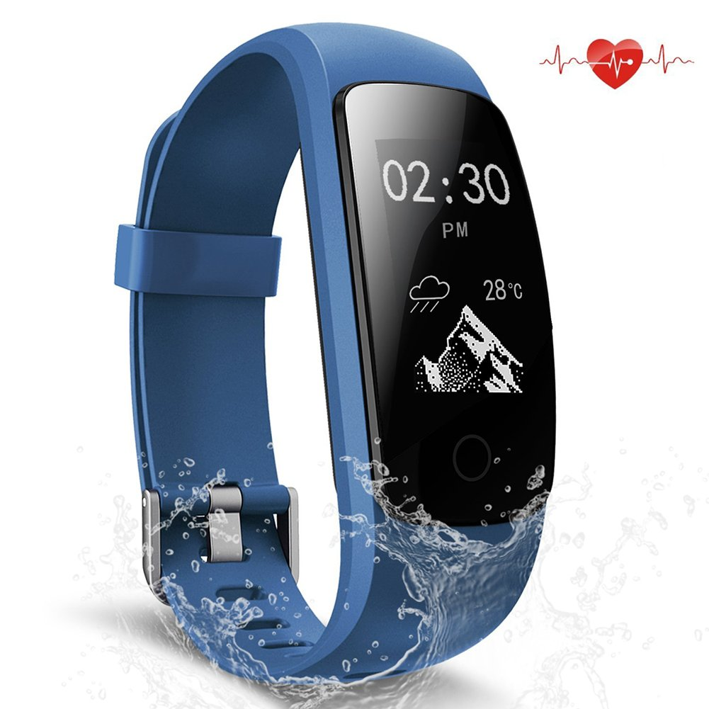 Fitness Tracker, Waterproof Activity Tracker with Heart Rate Monitor Bluetooth Smart Watch Wireless Smart Bracelet Sleep Monitor Pedometer Wristband for Android and iOS Smartphone (blue 107)