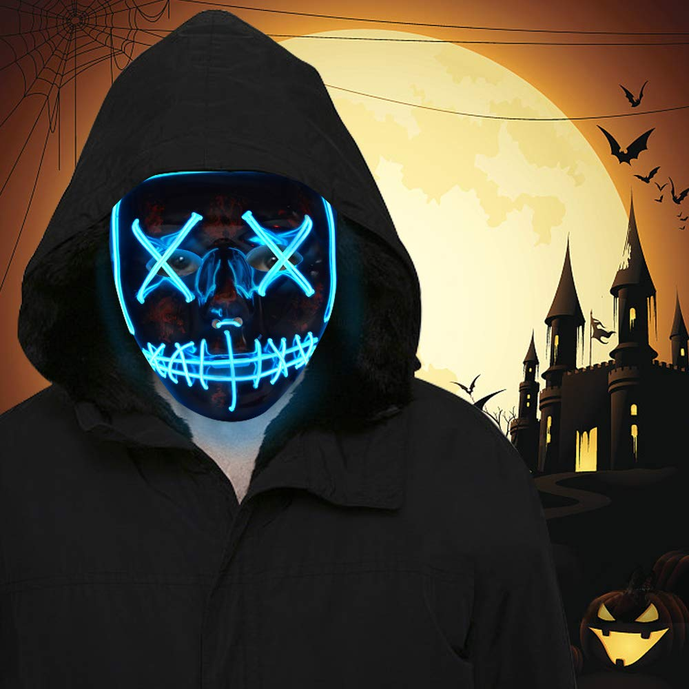 FLY2SKY Halloween Mask Light Up Toys 2PCS Blue LED Light Up Mask LED Mask Glowing Mask Frightening Luminous Halloween Cosplay LED Purge Mask for Festival Entertainment Halloween Party Favors for Kids by FLY2SKY