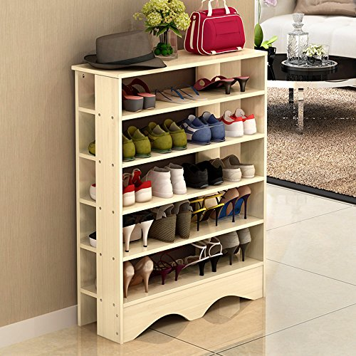 Shoe Racks 5 Tiers Multi-function Economy Storage Rack Solid Wood Standing Shelf Organizer - Aurora Stores Outlets