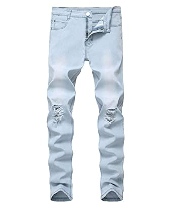fe3d6413 OBT Boy's Light Blue Stretch Skinny Fit Ripped Destroyed Distressed Fashion Slim  Denim Jeans 8