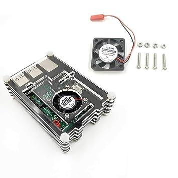 KOBWA Miuzei - Carcasa para Raspberry Pi 3B con Ventilador y ...