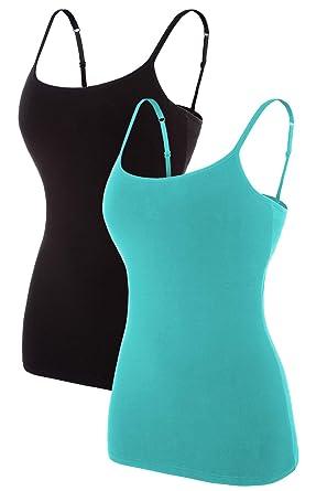7af49e53800 V FOR CITY Camisoles for Women with Built in Bra Shelf Cami Tank Tops Aqua  Black