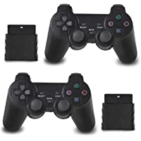 OUBLANC Wireless Controller PS2, 2.4G Dual Vibration Game Controller Gamepad Remote for Sony Playstation 2/PS2 (2 Pack…