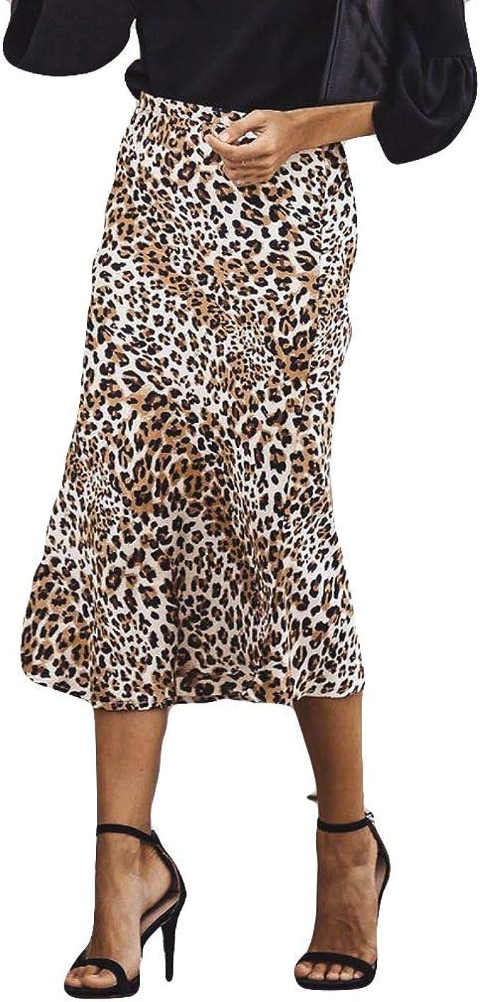 Xmiral Mujeres Falda Midi Estampado Leopardo Sexy Cintura Alta ...