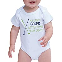 7 ate 9 Apparel Baby Boy's My Daddy Golfs Better Than Your Daddy Onepiece