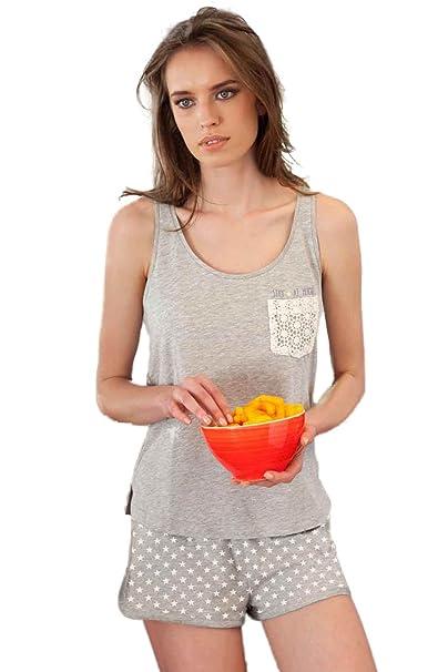 Pijama Tirantes Mujer Admas Star, Color Gris Jaspe, Talla M