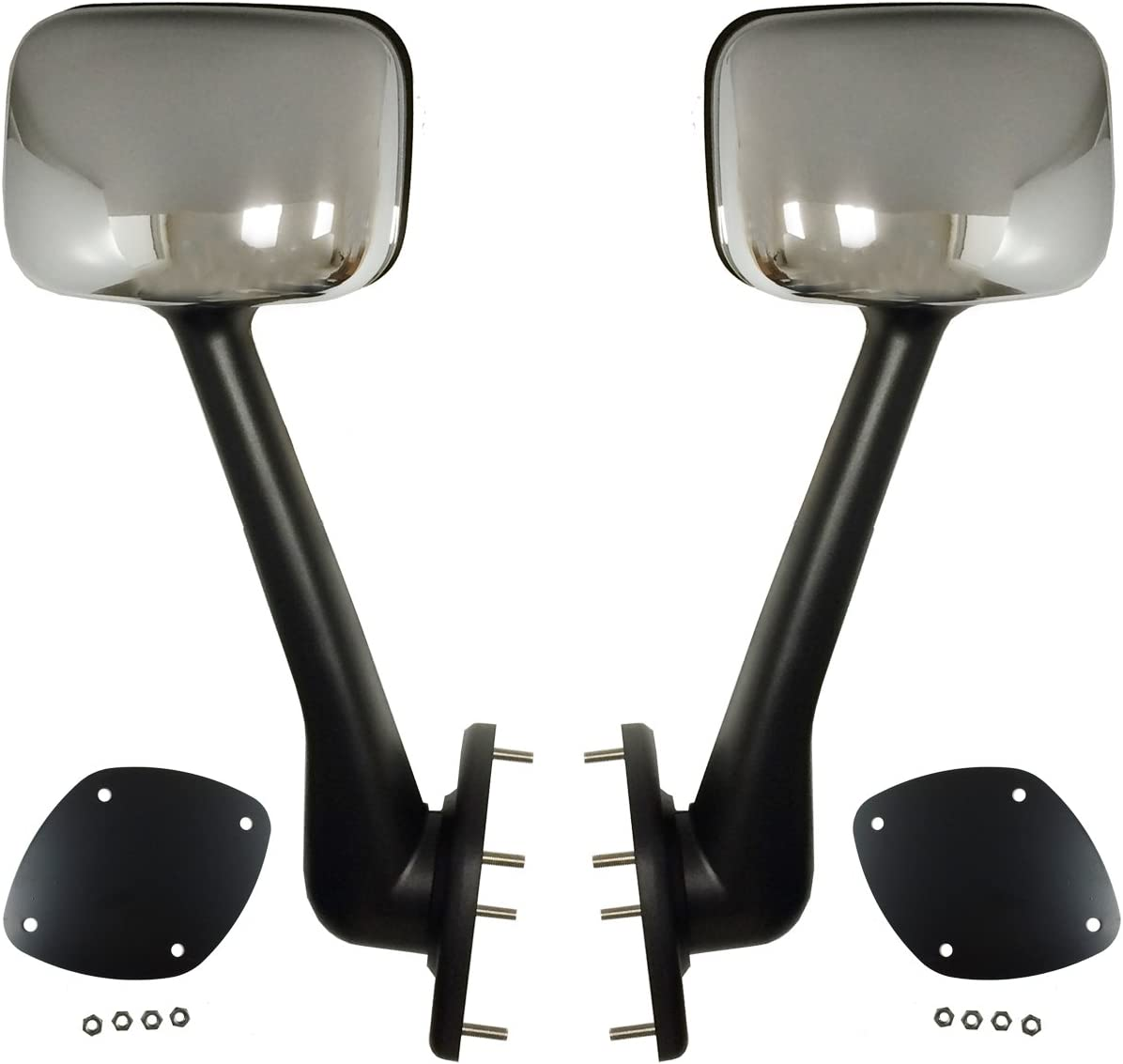 Driver /& Passenger Side with Mounting Kits 2 Pack PETAPARTS PBP 35-090-S Freightliner Cascadia Hood Mirror Chrome