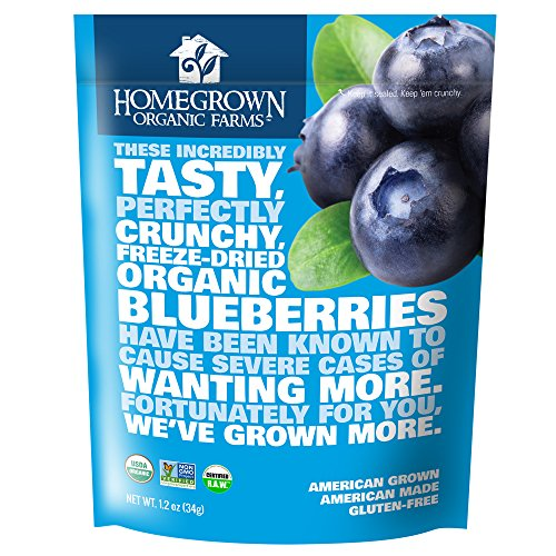 Freeze Dried Blueberry Snack by Homegrown Organic Farms - Organic Non-GMO Freeze-Dried Blueberry Chips - All-Natural Vegan Freeze Dried Fruit 1.2 oz