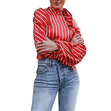c02494ec3aef25 Sufeng Fashion Women s Striped Off Shoulder Tops Long Sleeve Shirt Casual Blouse  Red
