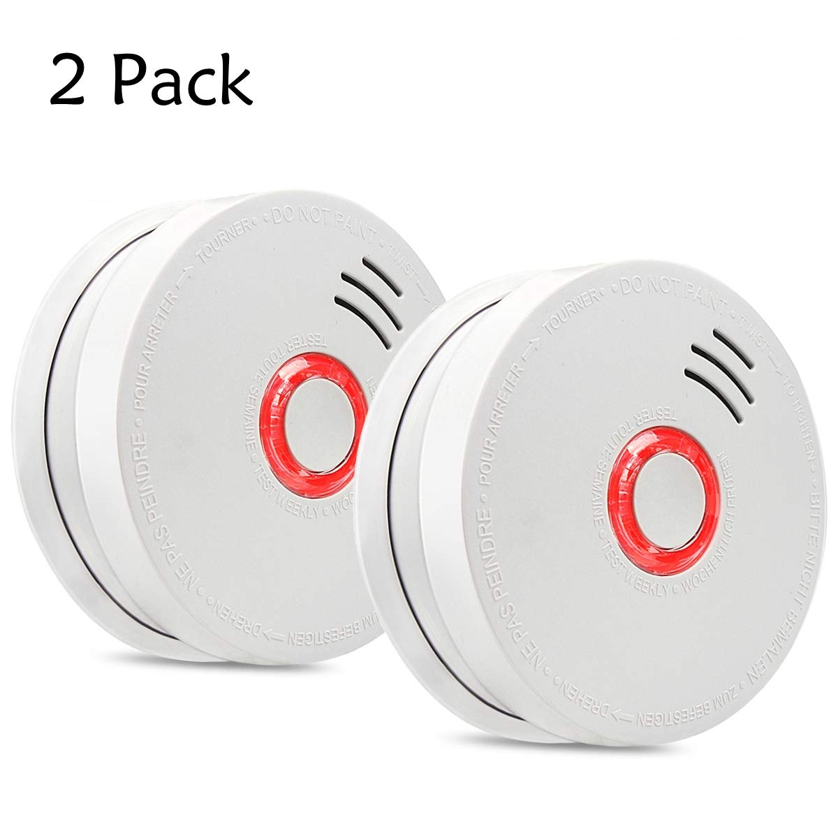 DaSinKo GS528A Portable Photoelectric Smoke and Fire Alarm Sensor with 9V Battery Operated,2 Pack