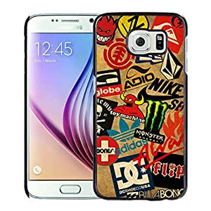Classic Skateboard Logos Black Abstract Personalized Picture Samsung Galaxy S6 G9200 Case
