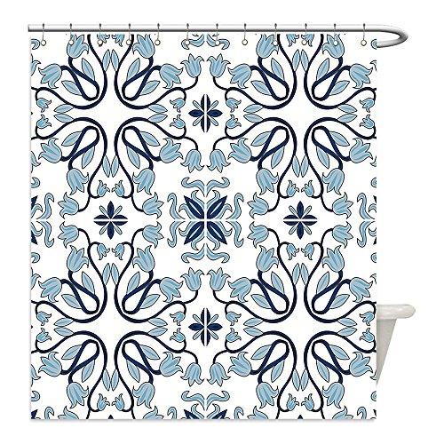 Liguo88 Custom Waterproof Bathroom Shower Curtain Polyester Traditional House Decor Medieval Persian Palace Flower Leaf Shapes Arabian Decor Artwork Light Blue Decorative bathroom by liguo88