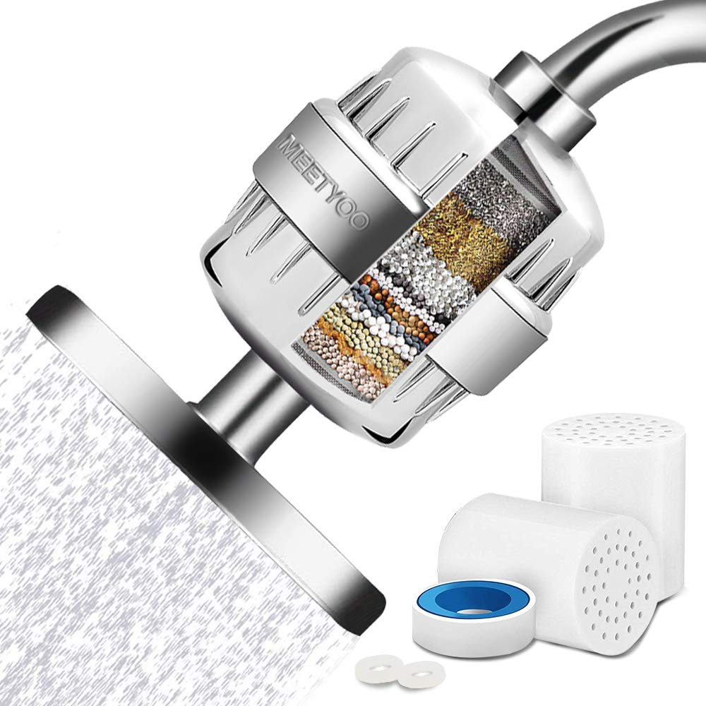 Shower Filter 15 Stage For Hard Water, Universal Shower Head Water Softener with 2 Cartridges, High Output Shower Head Filter Removes Chlorine and Harmful Substances by MEETYOO