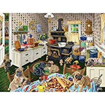 Bits and Pieces - 500 Piece Jigsaw Puzzle for Adults - Dog Gone Good Pizza - 500 pc Puppies Eating Pizza Jigsaw by Artist Joseph Burgess