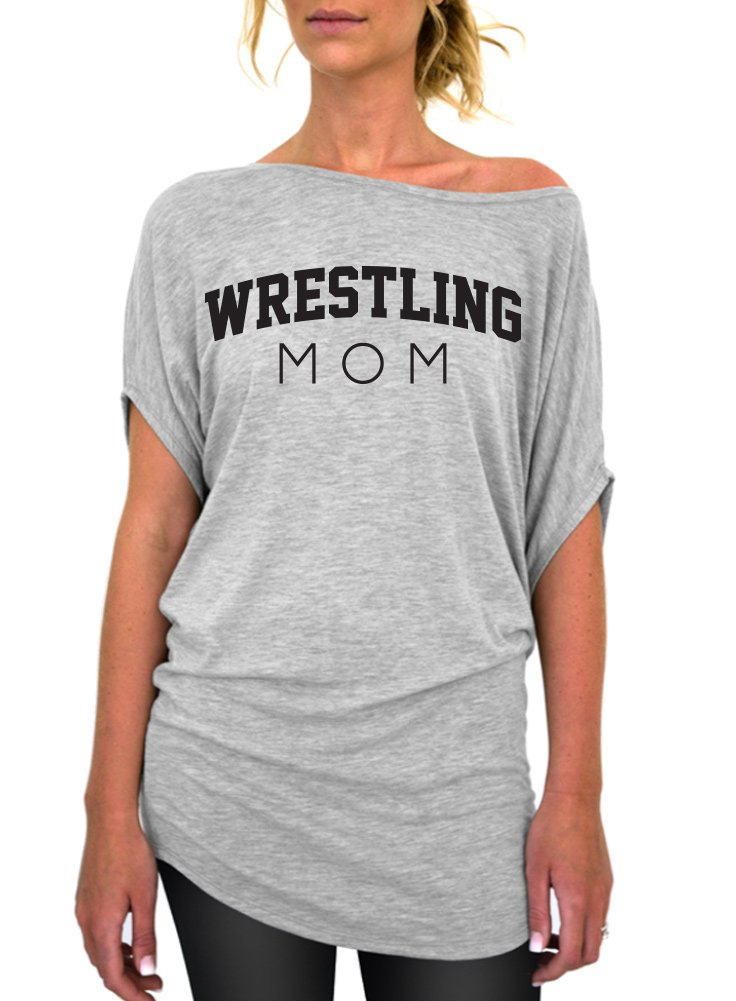 Wrestling Mom Standard Slouchy Tee - Medium Gray Black Ink