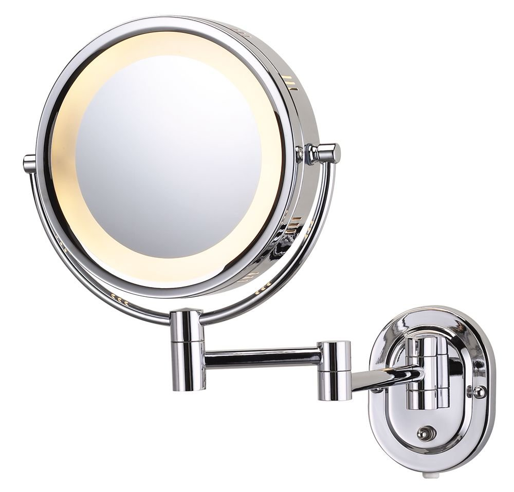 Jerdon HL65C Lighted Wall Mount Makeup Mirror