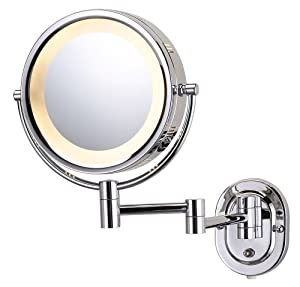 Lighted Wall Mount Makeup Mirror with 5x Magnification