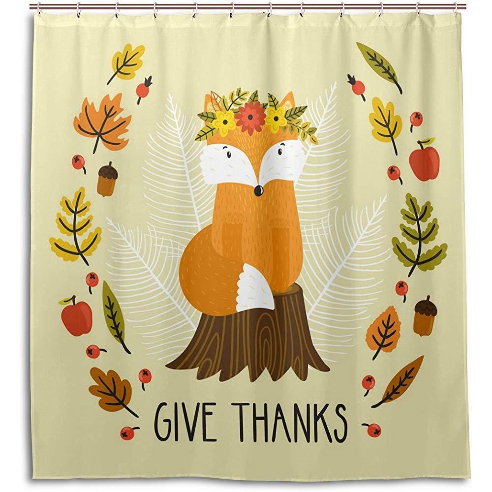 Amazon Jubenlcai Fox Give Thanks Autumn Leaves Shower Curtain