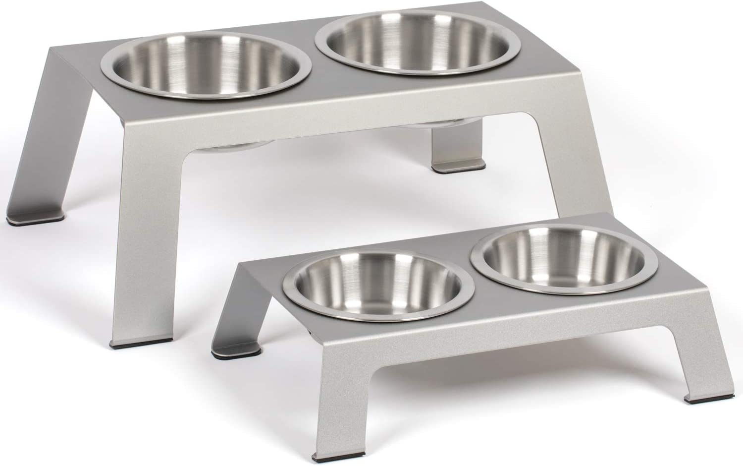 "PetFusion Elevated Dog Bowls, Cat Bowls -- Premium anodized Aluminum feeder (Short 4"", Tall 8"" options). US FOOD GRADE Stainless Steel raised bowls"