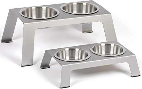 """PetFusion Elevated Dog Bowls, Cat Bowls - Premium Anodized Aluminum Feeder (Short 4""""). Us Food Grade Stainless Steel Raised Bowls"""