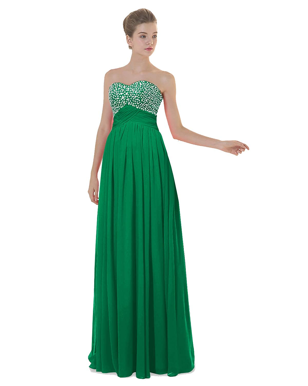 Emerald ANGELWARDROBE Empire Beaded Sweetheart Neck Prom Gowns Long Evening Dresses Party Skirts