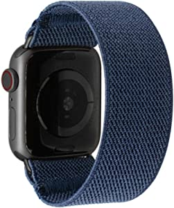 Tefeca Navy Color Elastic Compatible/Replacement Band for Apple Watch 42mm/44mm (Black Adapters, M fits Wrist Size : 6.5-7.0 inch)