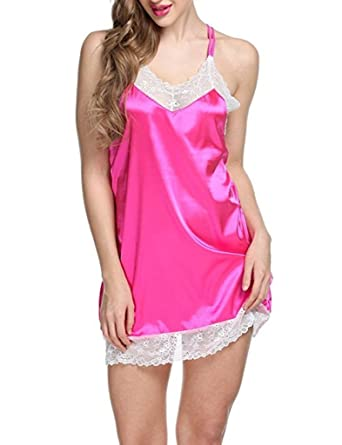 V Brown Satin Babydoll Bridal Nighty Night Wear Lingrie  Amazon.in  Clothing    Accessories 7e184964d