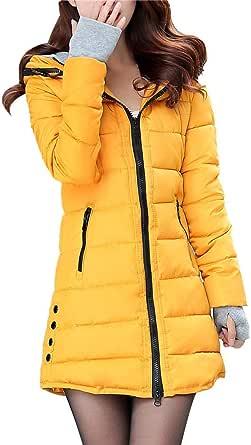 Abrigo de Cremallera Acolchado Chaqueta Largo con Capucha de Manga Larga para Mujer Invierno Parka Pullover Hanyixue