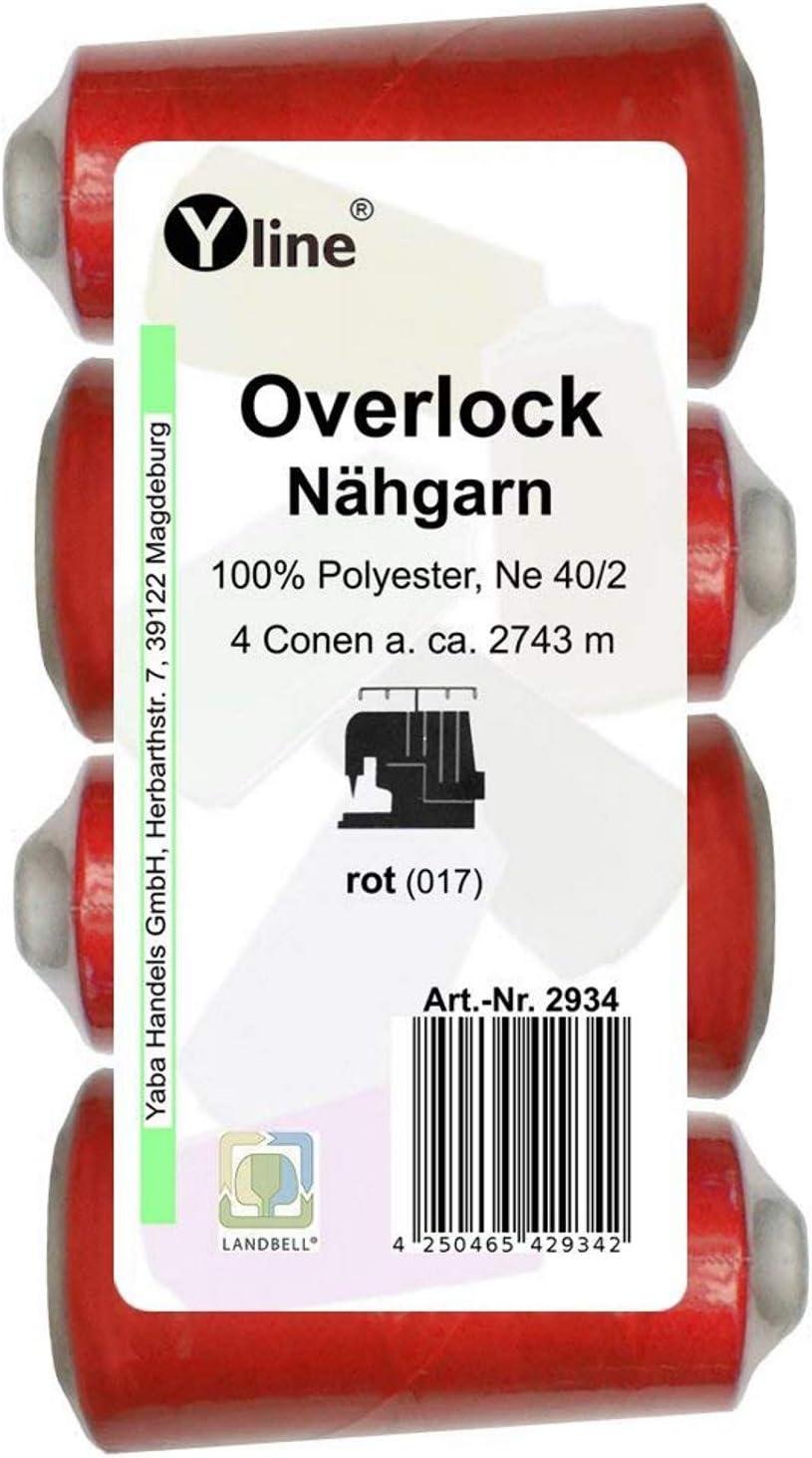 4 bobinas Overlock – Hilo de coser rojo, aprox. 2743 m, NE 40/2, 100% poliéster, hilo para máquina de coser, 2934