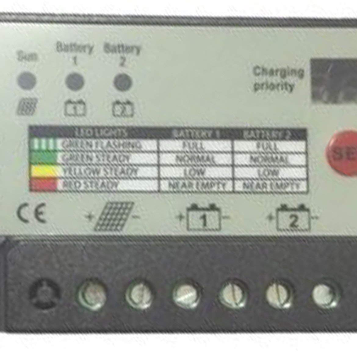 20 Amp Dual Battery Solar Charge Controller for Charging Separately Wired/12V or 24v Batteries Black