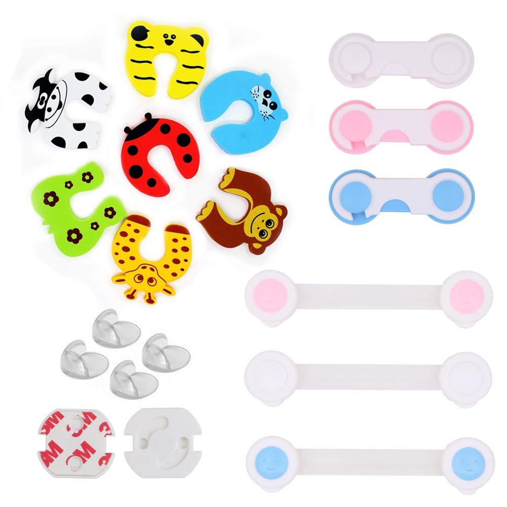 8 Baby-Proofing-Ecken 7 T/ürstopper Kantenschutz 12 Baby-Sicherheitsschl/össer 24 Steckdosenabdeckungen 51-teiliges Baby-Proofing-Set