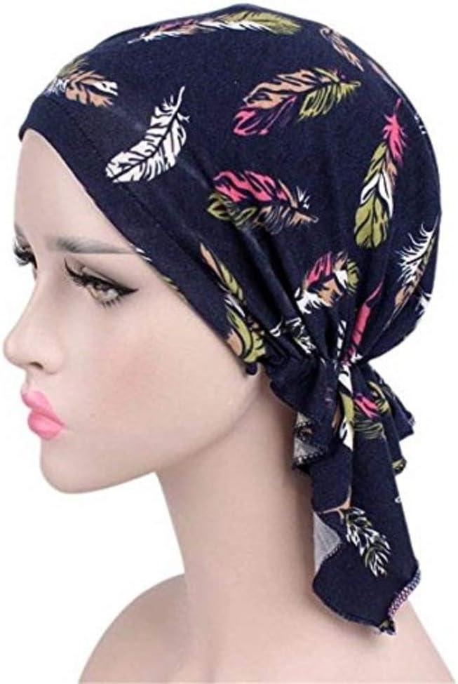 Wcysin Women Cotton Bandana Scarf Pre Tied Chemo Hat Beanie Turban Headwear For Cancer Patients Ladies Turbante Black flower